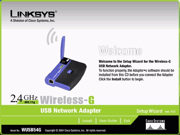 screenshots central linksys wireless g usb network adapter
