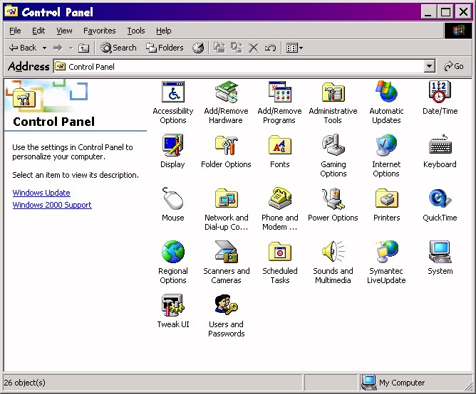 windows 2000 professional    control panel  modemhelp