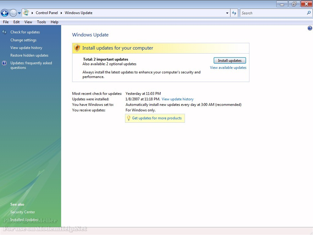 Windows Vista / Windows Update ModemHelp