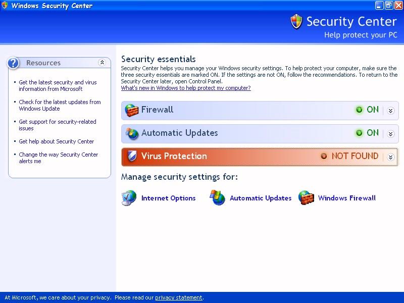Windows XP / Security Center (SP2) (ModemHelp)